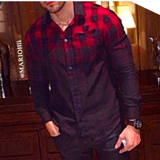 shirt plaid ombre mens shirt menswear