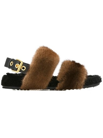back fur women sandals leather brown shoes
