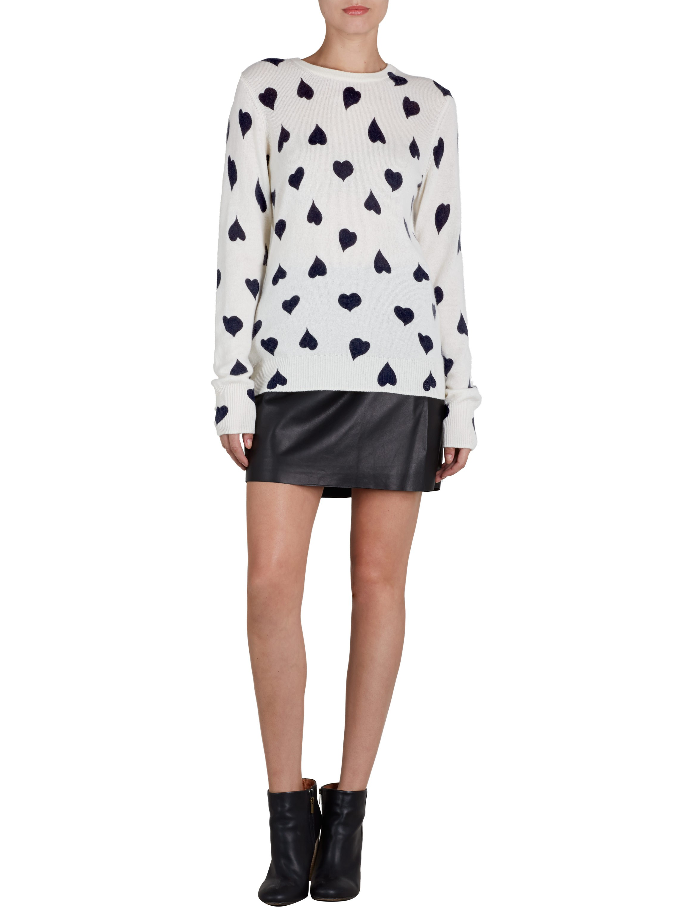 EQUIPMENT Shane Crew Neck Peacoat Ivory Hearts Print | Cashmere Sweater