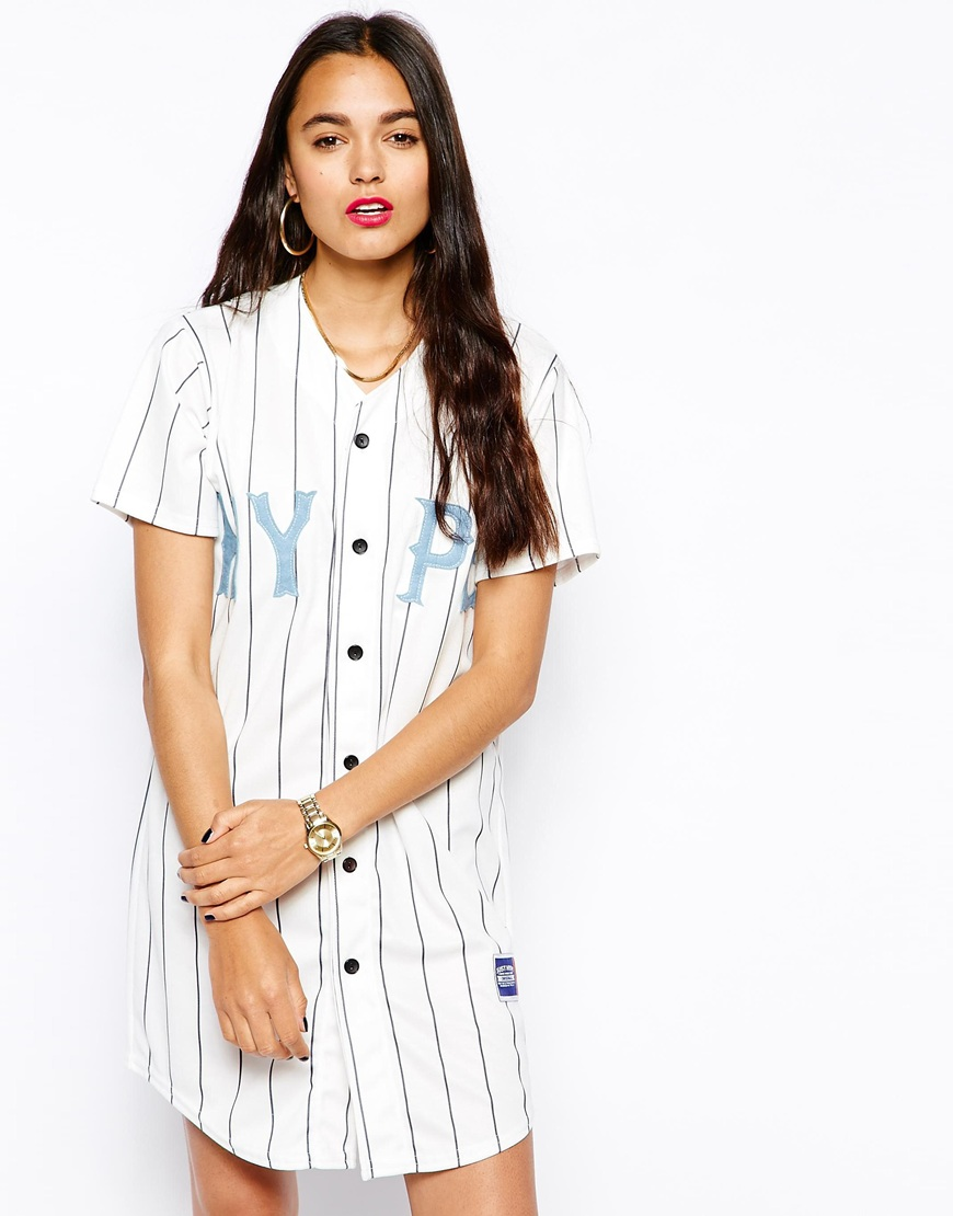 hype baseball button up t shirt dress at ForBaseball Button Up T Shirt Dress