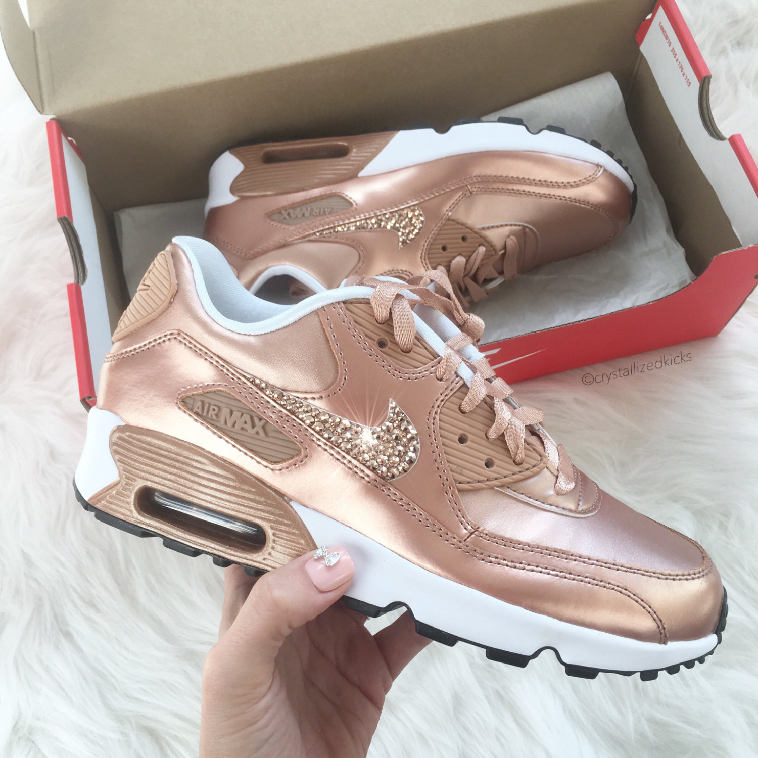 la moitié 09cd0 5c63d Nike Air Max 90 Silver Shoes Made with SWAROVSKI® Crystals - White/Metallic  Rose Gold