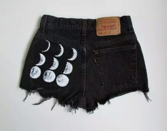 shorts moon tumblr weheartit cute black white galaxy print