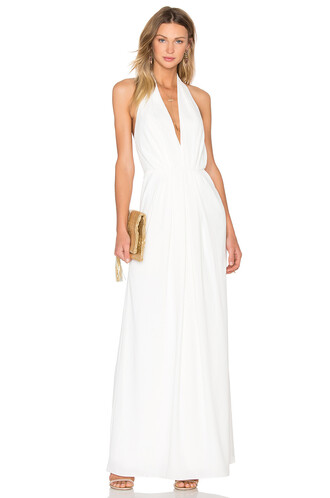 gown pleated v neck white