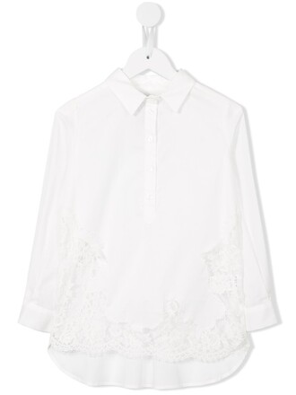 shirt spandex lace white cotton top