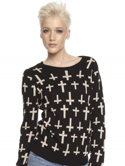 Cross Knit Jumper in Black - Glue Store