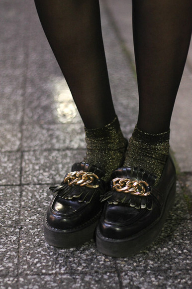shoes black flats chain platform platform sneakers