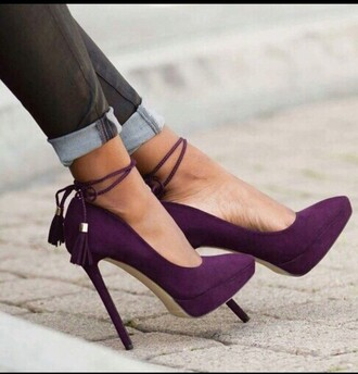 shoes purple shoes suede pointed toe pumps platform high heels ankle strap