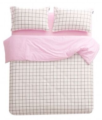 pastel pink blanket black and white bedding checkered grid grunge bedroom home accessory sheet bedsheet pink aesthetic soft grunge tumblr pale black white sheets grid patterned bedsheets windowpane bedding pink and white