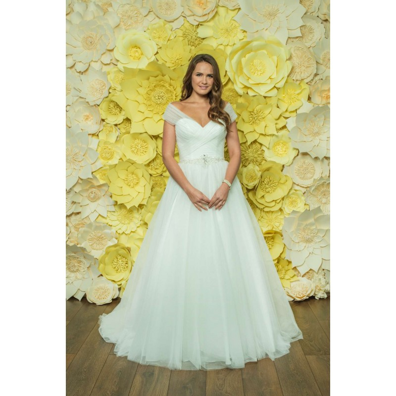 Style D043 by Daisy by Alexia - Ivory  White Tulle Keyhole Back Floor Off-Shoulder  V-Neck Ballgown Short Wedding Dresses - Bridesmaid Dress Online Shop
