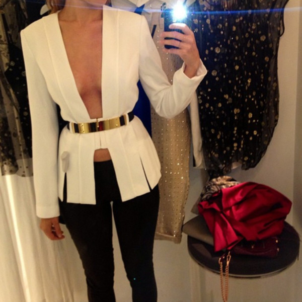 Blouse: white, gold, cut low, low cut, long sleeves, belt - Wheretoget