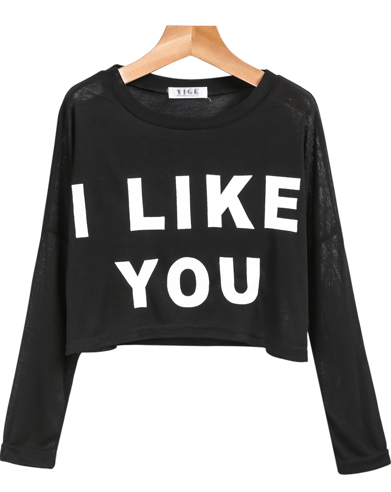 Black Long Sleeve I LIKE YOU Print Crop Blouse - Sheinside.com