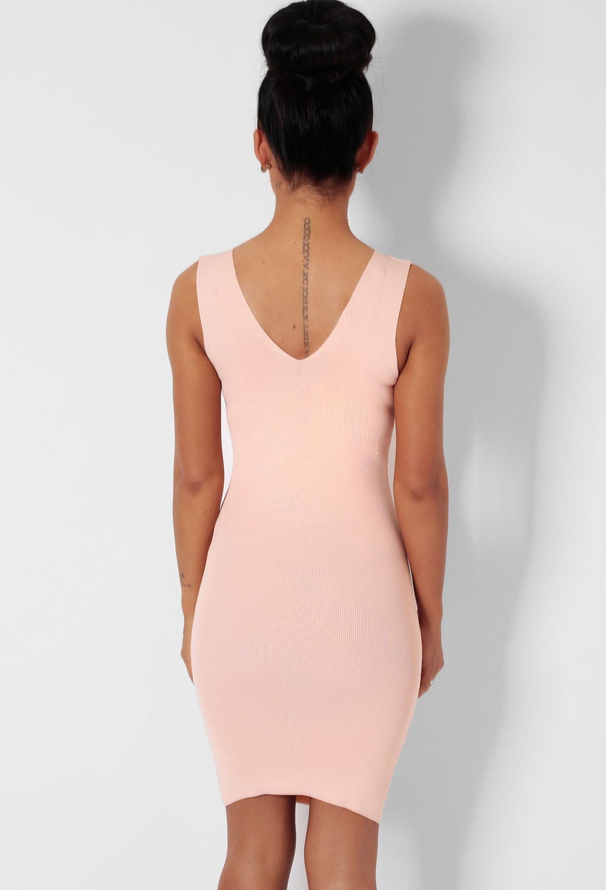 Almond Nude Bodycon Sleeveless Mini Dress | Pink Boutique