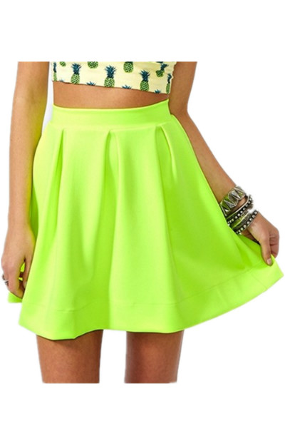 KCLOTH High Waist Mini Skirt in Neon Green