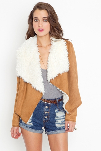 Shearling Drape Jacket - Camel in  What's New at Nasty Gal