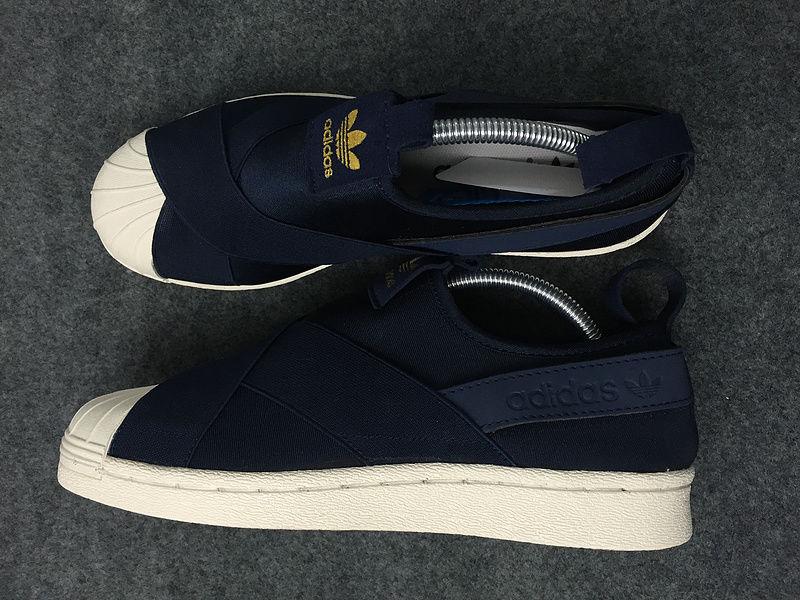 adidas originals superstar slip on navy blue