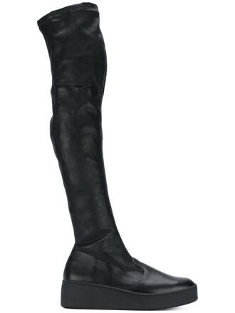 long women boots leather black shoes