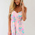 Pink Jump Suits/Rompers - Pink Floral Playsuit with Crisscross | UsTrendy