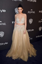 skirt,top,gown,kylie jenner,Golden Globes 2016,prom dress,long prom dress,see through dress,embellished dress,sparkly dress,two piece dress set,red carpet,red carpet dress,glitter,glitter dress,dress