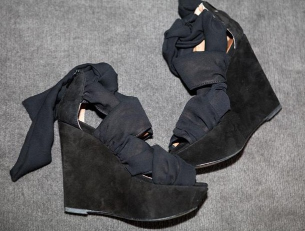 wedges high heels suede black chiffon topshop black shoes shoes