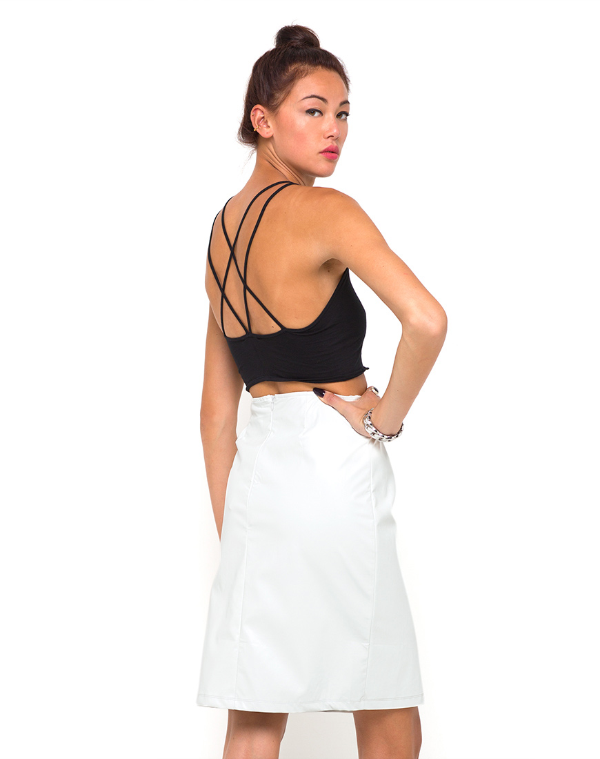 Buy Motel Swallow Midi Skirt in White Faux Leather at Motel Rocks