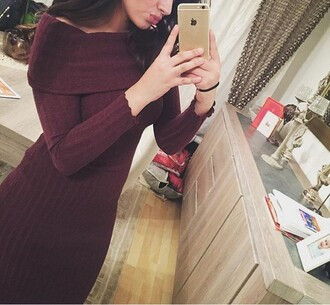 dress winter outfits purple boat neck pretty girly instagram mesh burgundy long sleeves sweater dress burgundy dress