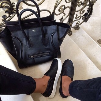 shoes celine bag bag celine black flat white fashion paris