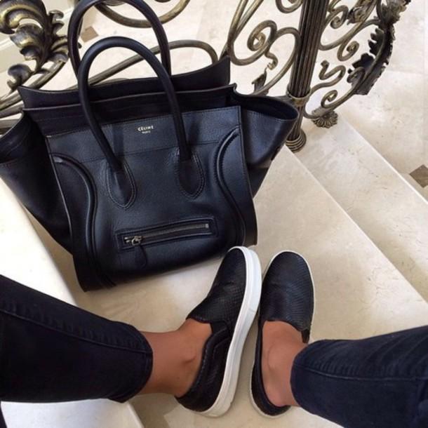 shoes celine bag bag celine black flat white fashion paris