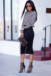 walk in wonderland,t-shirt,skirt,bag,shoes,pencil skirt,midi skirt,skater skirt,bodycon,black skirt,lace up,black heels,high heels,heels,black shoes,platform shoes,boots,white shirt,top,sunglasses,party,classy,style,hot,pencile skirt,denim,stripes,striped shirt,black and white,white crop tops,amazing,streetwear,streetstyle