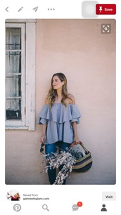 blouse,off the shoulder top,blue top,blue,ruffled top,top,denim top,jeans,blue jeans,bag,striped bag,straw bag,blogger