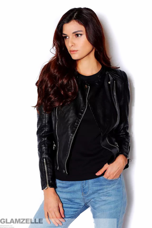 Biker inspired leather jacket (2 colors available) – glamzelle