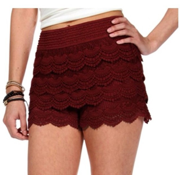 Shorts: red, lace, burgundy - Wheretoget