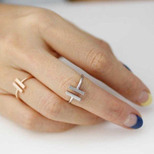 jewels accessories bar ring double bar ring fashion ring gold bar ring open ring open style ring silver bar ring square ring sterling silver bar ring sterling silver jewelry sterling silver ring bikini luxe jewelry dainty ring knuckle ring gold midi rings ring