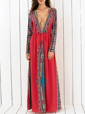 dress,tribal pattern,tribal patter,tribal dress,long sleeves,long sleeve dress,plunge v neck,plunge dress,plunge neckline,long dress,prom dress,prom,long prom dress,red,red dress,long red dress,red prom dress