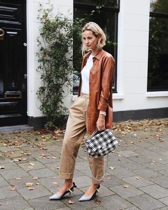 shoes leather coat white top tumblr slingbacks pants nude pants bag coat brown coat top