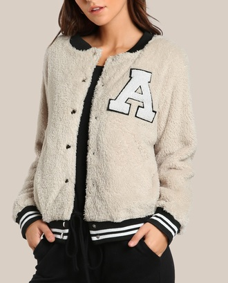 jacket girly button up fuzzy jacket fur coat lettermen lettermanjacket