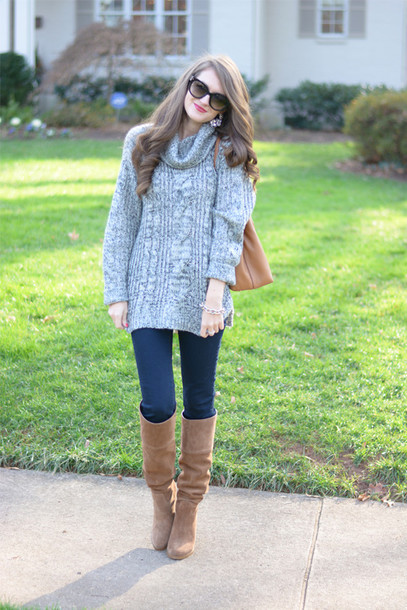southern curls and pearls blogger grey sweater knitted sweater cable knit brown leather boots grey cable knit sweater turtleneck turtleneck sweater boots brown boots sunglasses