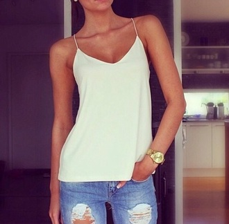 casual jeans top white white top tank top white tank top blouse denim torn clothes watch gold gold watch summer top
