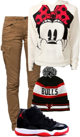 sweater pullover jordans beanie cargo pants bulls white red khaki black high top minnie mouse jeans shoes pants