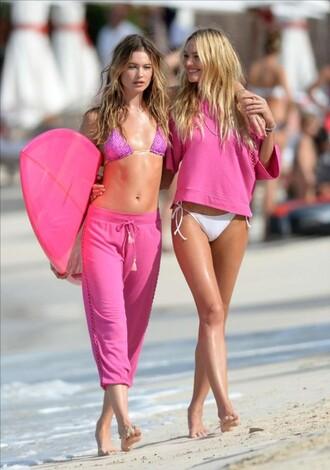 pants bikini bikini top pink model behati prinsloo candice swanepoel beach swimwear pink t-shirt hot pink summer sports victoria's secret model surf sweatpants