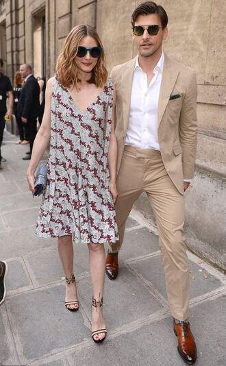 shoes dress olivia palermo blogger midi dress fashion week 2017 paris fashion week 2017 sunglasses sandal heels sandals