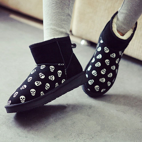 [grxjy5190297]Skull Head Print Winter Snow Boot Thick Sole Padded Shoes  / brashycouture