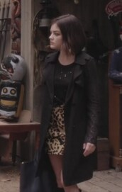 skirt,animal,trench coat,coat,jacquard,leopard print,plaid skirt,pretty little liars,aria montgomery,lucy hale,top