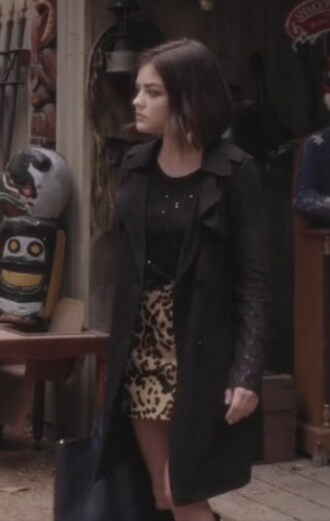 skirt animal trench coat coat jacquard leopard print plaid skirt pretty little liars aria montgomery lucy hale top