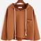 Khaki hooded high low pocket textured sweatshirt -shein(sheinside)