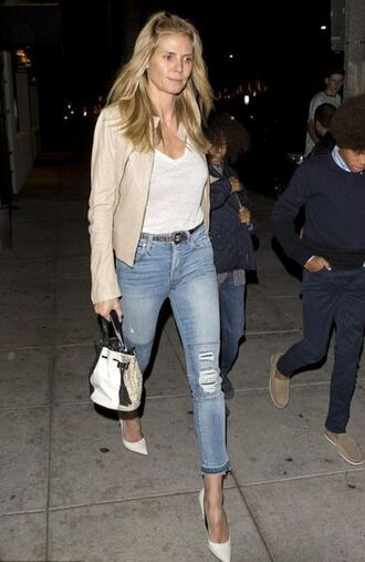 jeans top heidi klum pumps jacket fall outfits