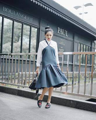 dress tumblr grey dress flowy midi dress shirt white shirt bag black bag shoes floral floral shoes mules gucci gucci shoes gucci princetown work outfits office outfits