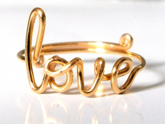 Ring  Gold Love Ring  Gold Wire Love Ring  door WirePalladiumJewelry