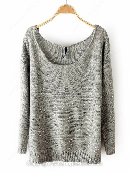 Grey Round Neck Long Sleeve Sweater - HandpickLook.com