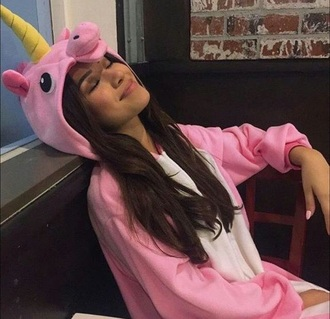 pink unicorn pastel girly pajamas fashion toast onesie