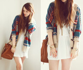 dress,bag,cardigan,sweater,blue,red,brown,woollen blazee,aztec sweater,purse,tan bag,brown bag,brown purse,shorts,bracelets,watch,ring,pretty,classy,hippie,hipster,grunge,tumblr,shoes,warm,pattern,free spirit,relaxed,relaxed fashion,nail accessories